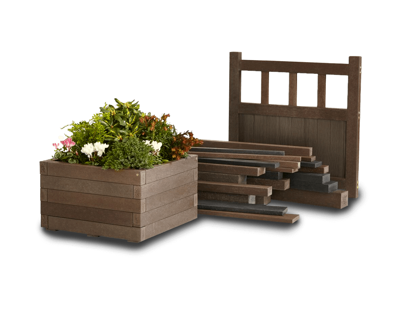 plastic wood litter bin, lumber and gate