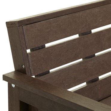 plastic wood bench close up