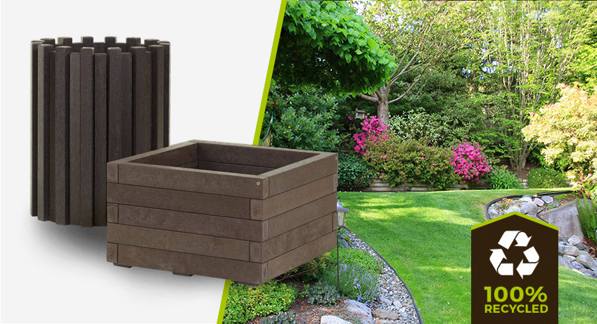 plastic wood bin and planter