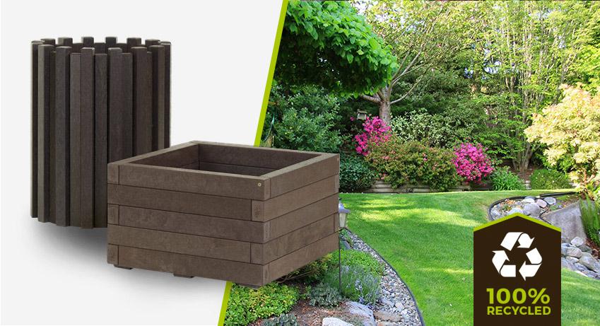 plastic wood bin and planter