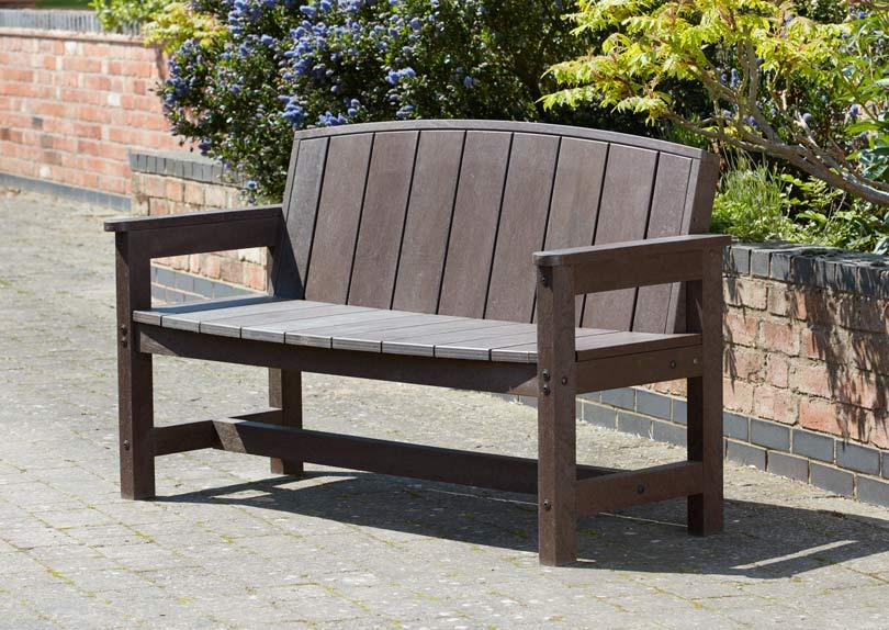 plastic wood bench curved backrest 3