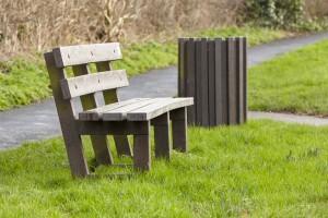 plastic wood bench and litter bin