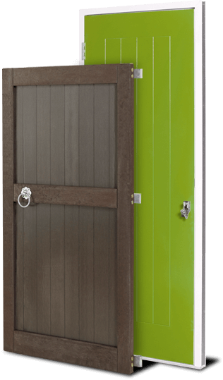 green and brown door