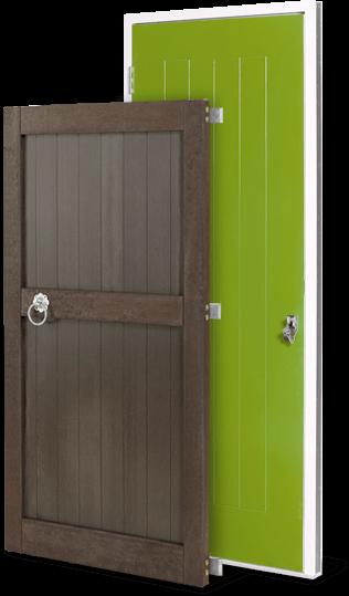 green and brown door