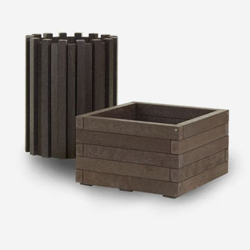 plastic wood litter bin and planter