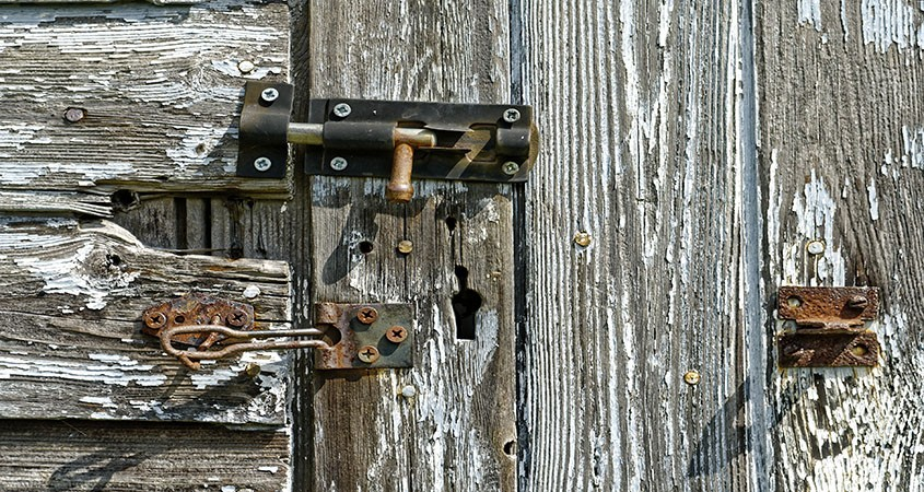 Rotting and Rusty shed door.