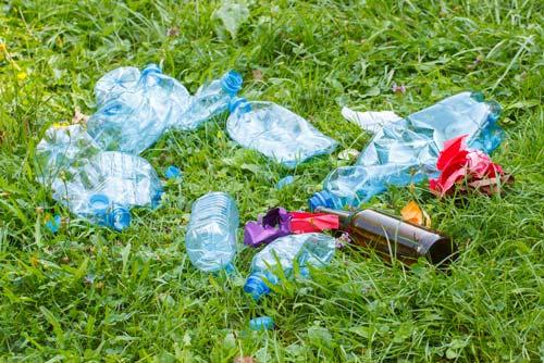 plastic bottles in park