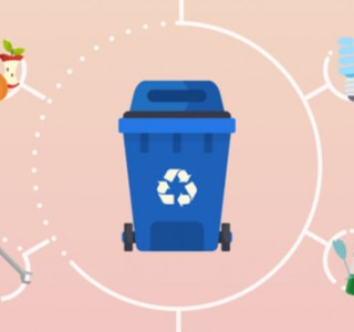 recycling bin with different kinds of waste in circle to the outside
