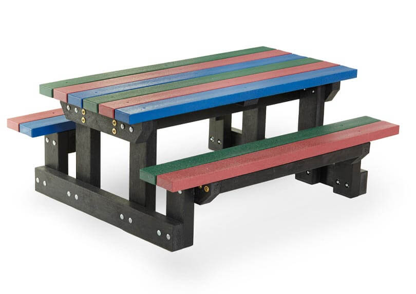 recycled plastic wood blue green and red close up picnic bench shot