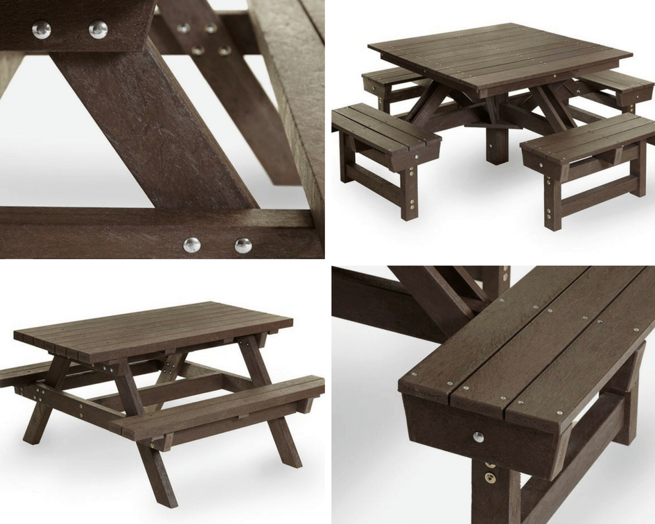 recycled plastic wood benches collage of two different styles. Featuring traditional two bench and 4 two seater benches