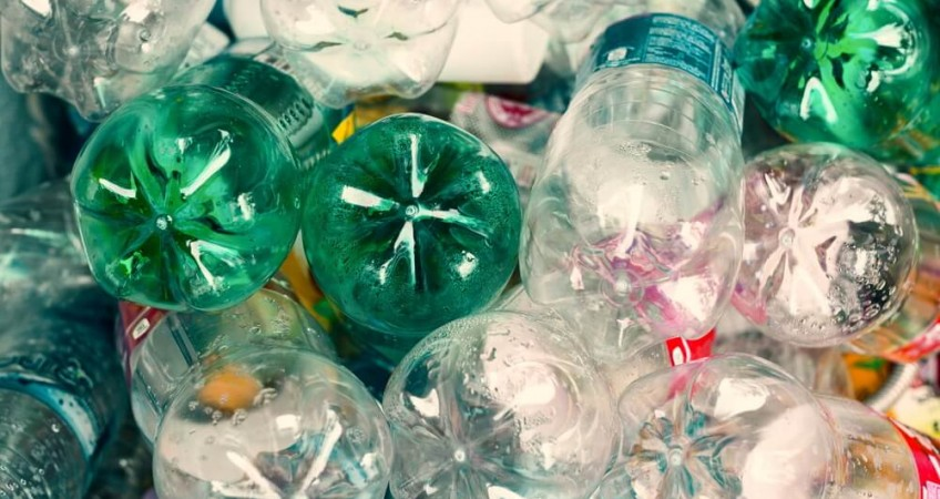 stack of empty plastic bottle waste