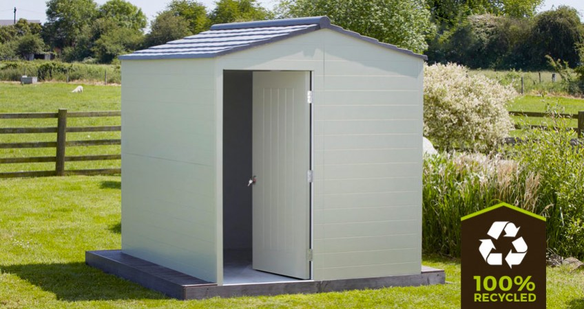 eco plastic wood recycled plastic shed on grass landscape